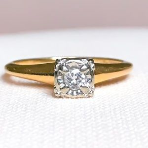 Antique Orange Blossom Diamond Engagement Ring